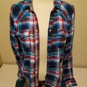 Hollister Medium Plaid Button Down Shirt Gorgeous